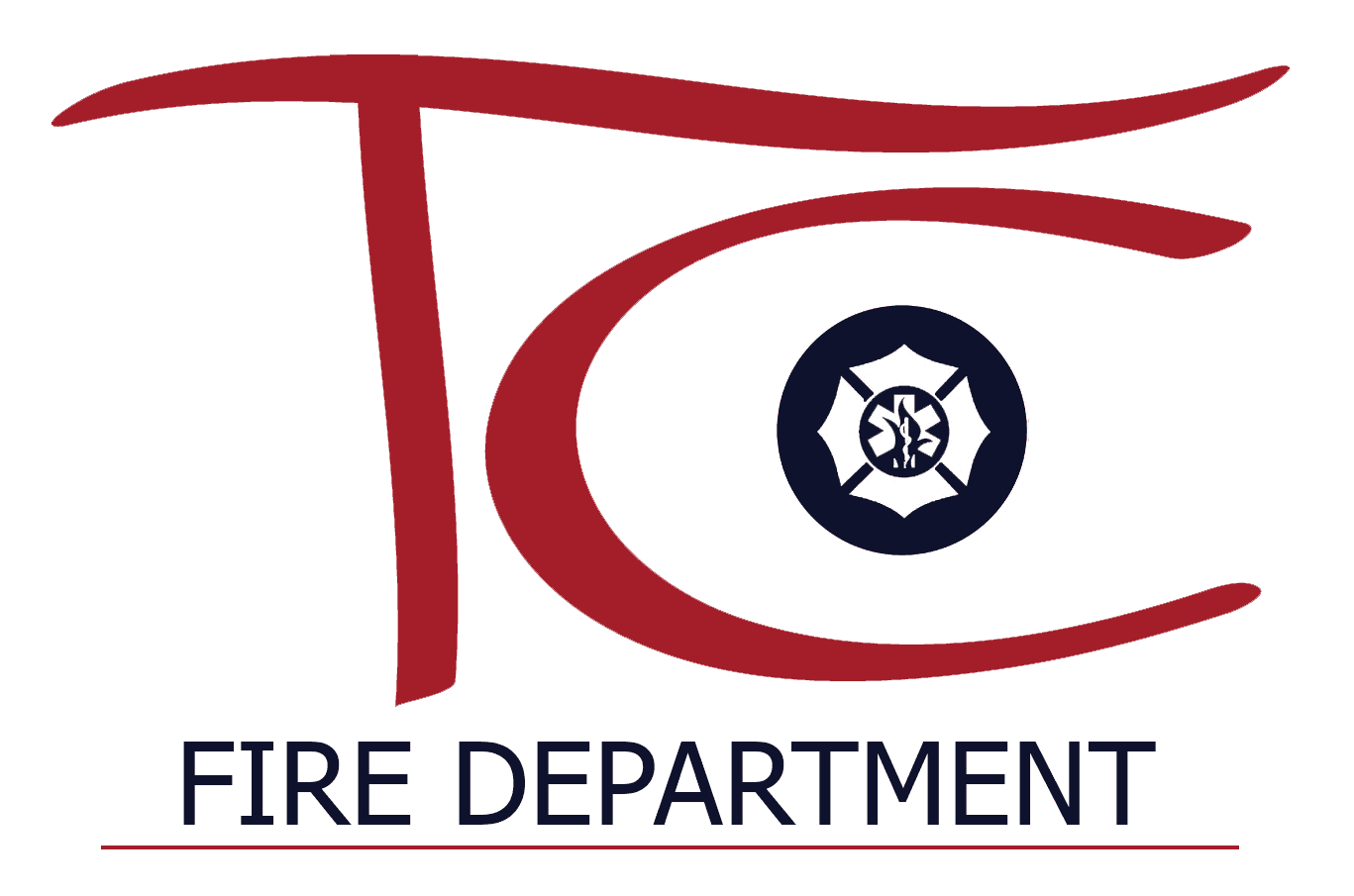 TC Fire Icon Dept Logo Navy Red Line - Color w Transparent Background