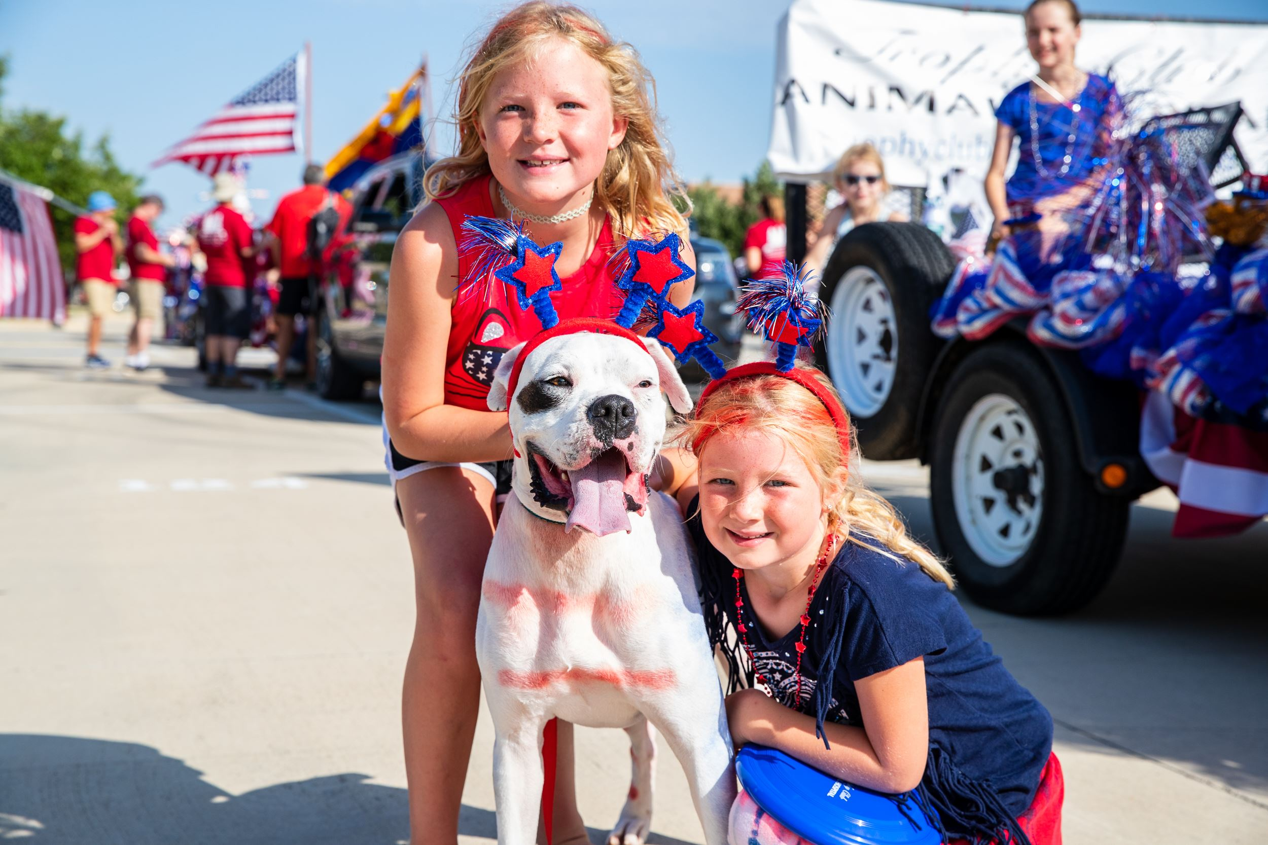 Fourth of July Girls and Dog