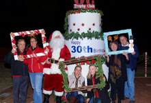 Large Happy 30th Cake with Santa Clause and Peopl