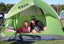 Father and Daughter Inside Green Tent