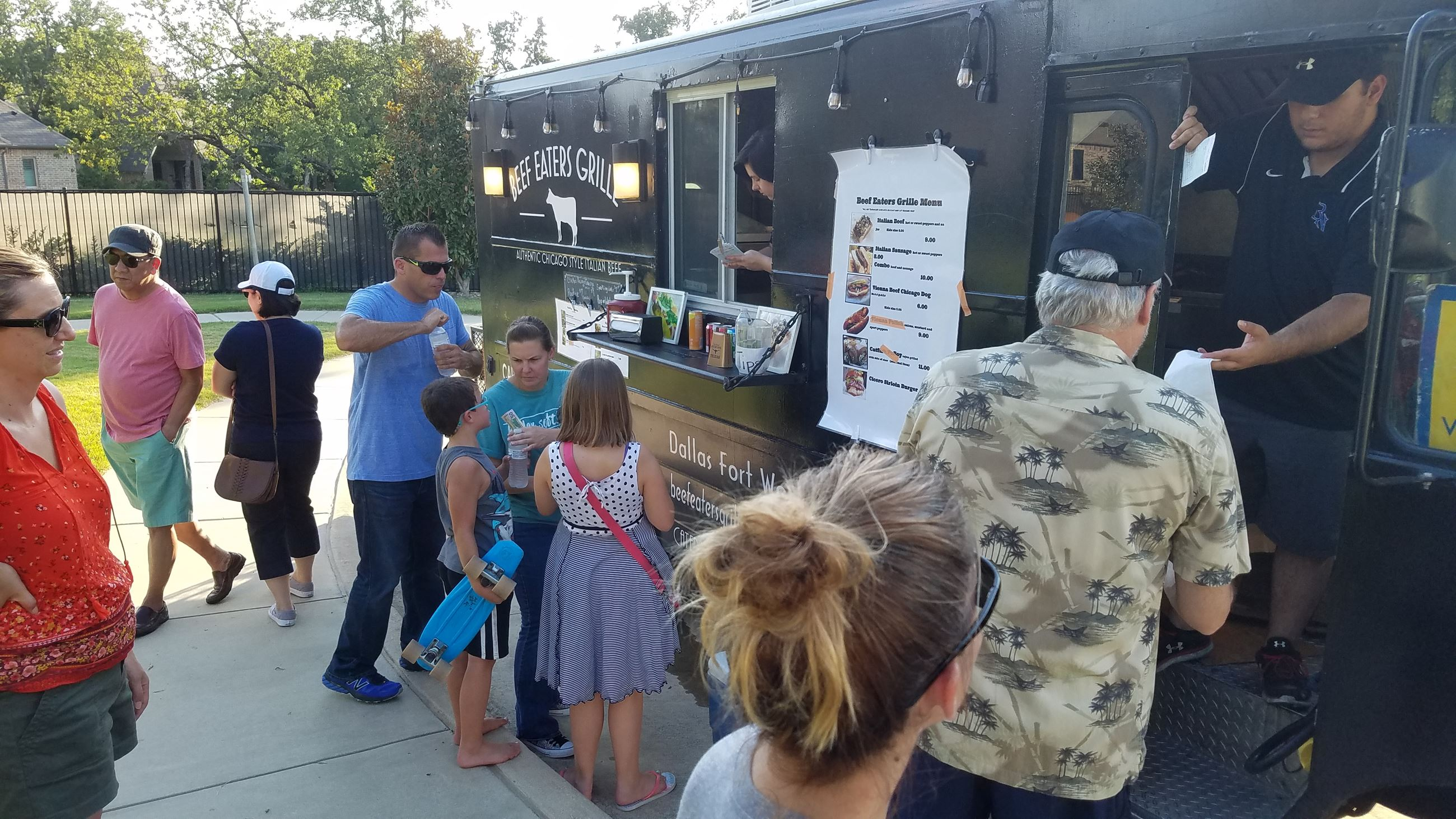 Families in line for food truck