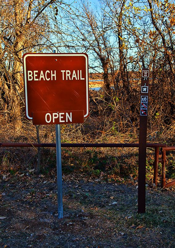 beach trail open sign